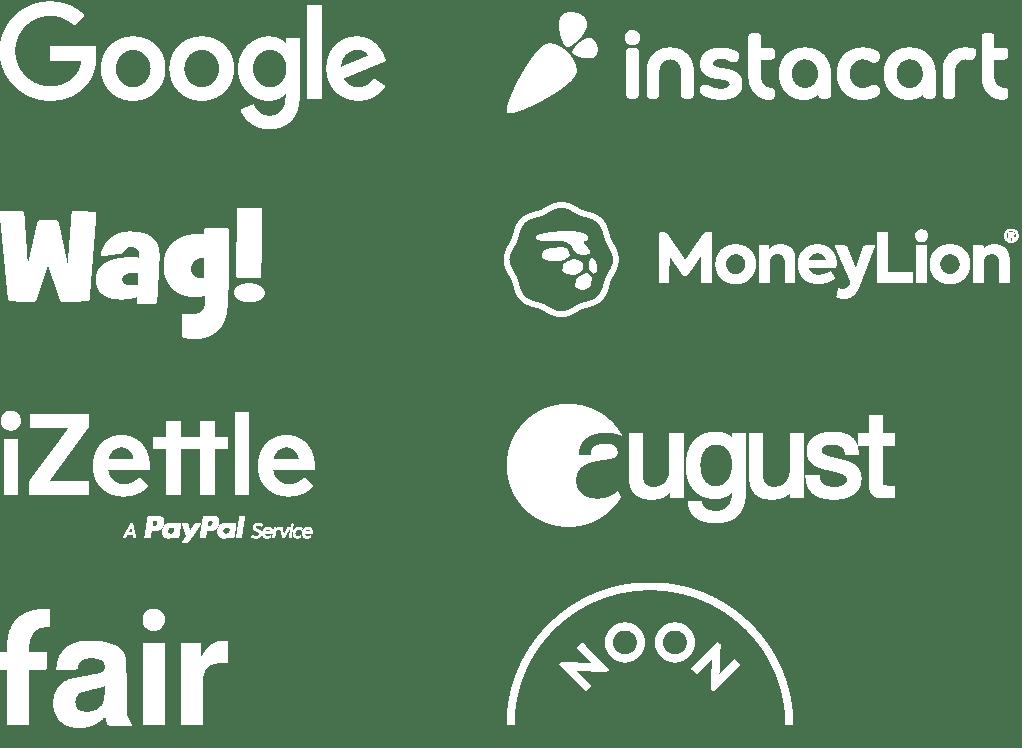 Customers logos: Google, Instacart, Wag!, MoneyLion, iZettle, August, Fair, Noon